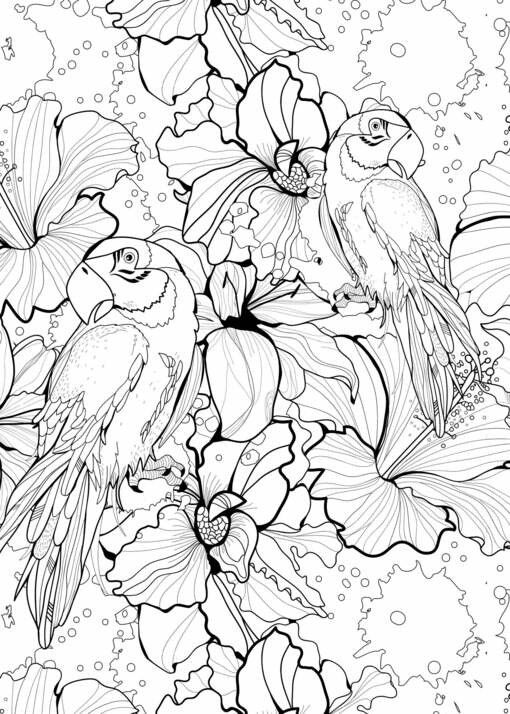 Macaw Couple | Tropical Jungle Birds | Pets | Free Printable Adult Coloring Page