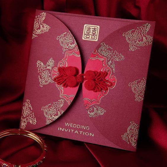 Asian Wedding Invitations Traditional Beautiful Unique