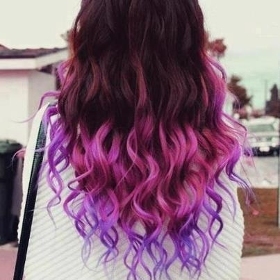 Dark brown hair with pink and purple tips I wonder if I ...