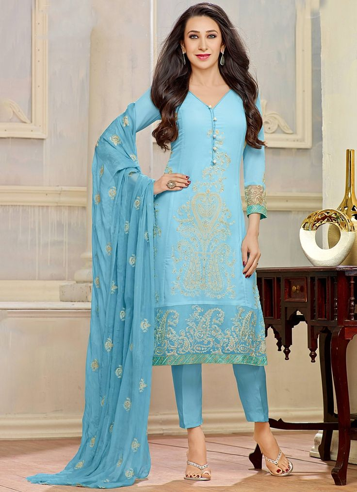 Karisma Kapoor Turquoise Georgette Pencil Style Churidar Suit