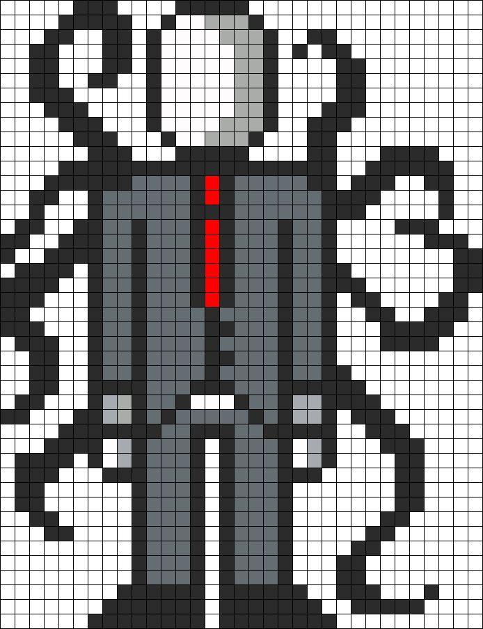 SlenderMan Perler bead pattern