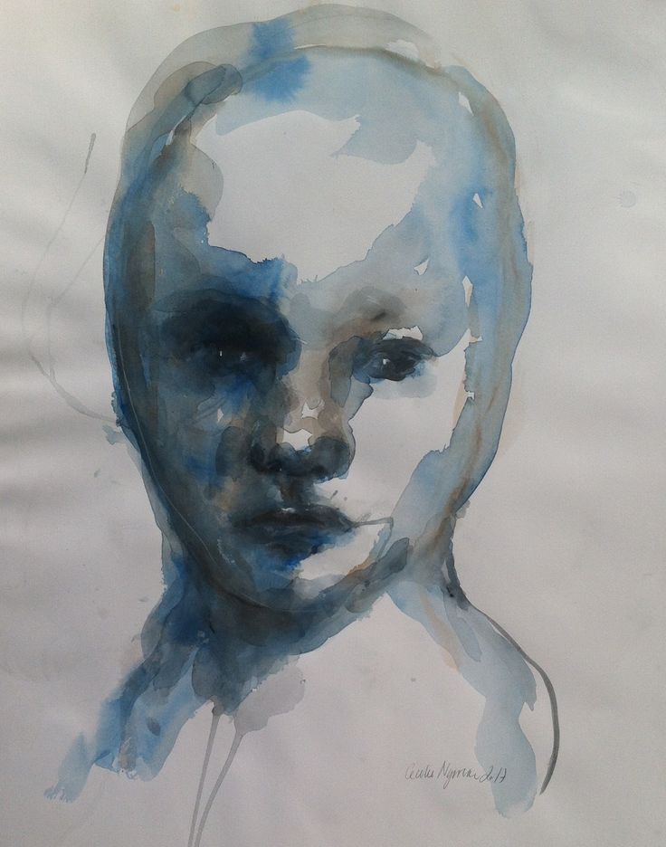 Blue, watercolor, 2017. Art by Cecilie Nyman