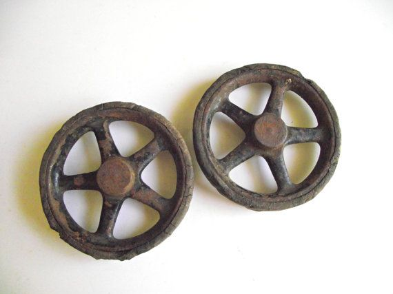 Antique+Toy+Wheels+/+Cast+Iron+and+Rubber+/+Industrial+by+gazaboo,+$32.00