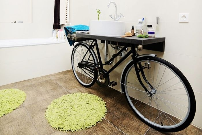 Creative recycling for the bathroom: the bike vanity - DIY - Riciclo creativo in bagno: la bicicletta lavandino (4 idee da copiare)