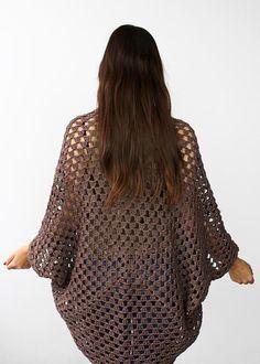 20 Gorgeous Free Crochet Cardigan Patterns for Women: Movie Night Cocoon Cardi Free Crochet Pattern