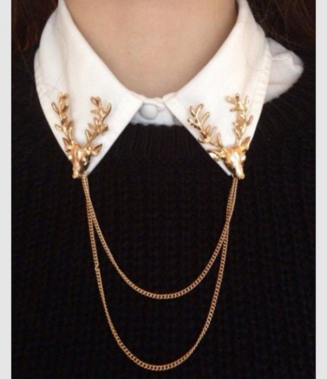Unisex women men blouse neck clip chain pearl pin clip brooch collar