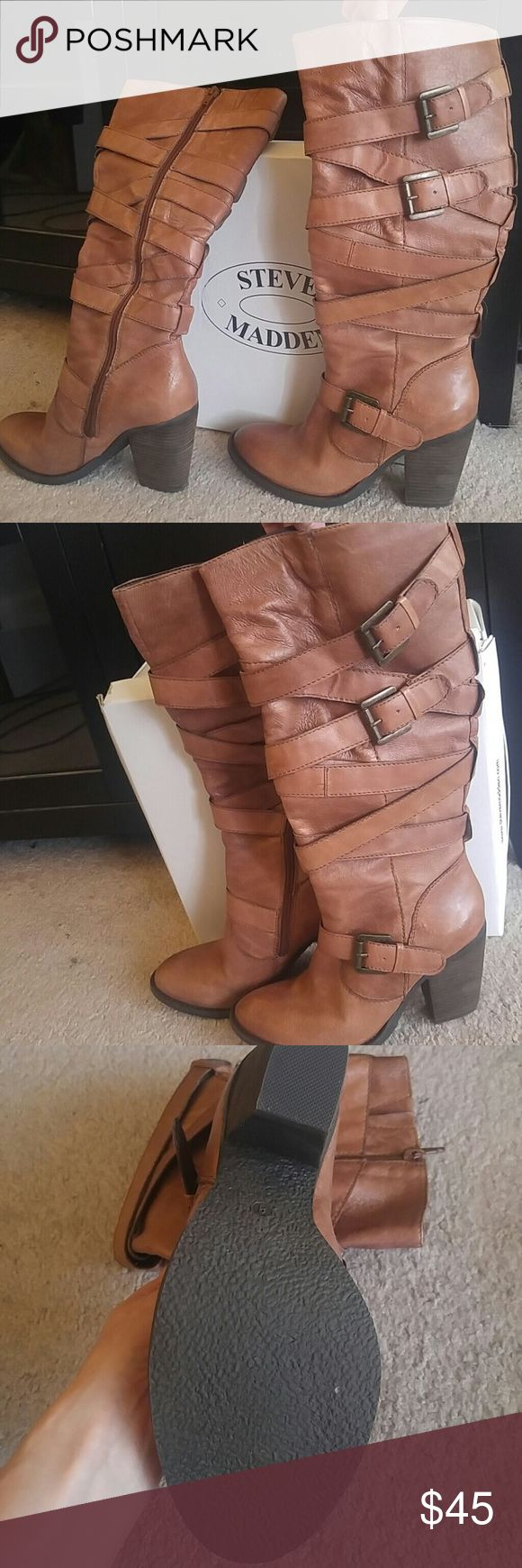 Brand New Strappy knee high boots Dark camel Strappy knee high Steve Madden boots. Super cute for fall. Never worn, perfect condition! Steve Madden Shoes Heeled Boots