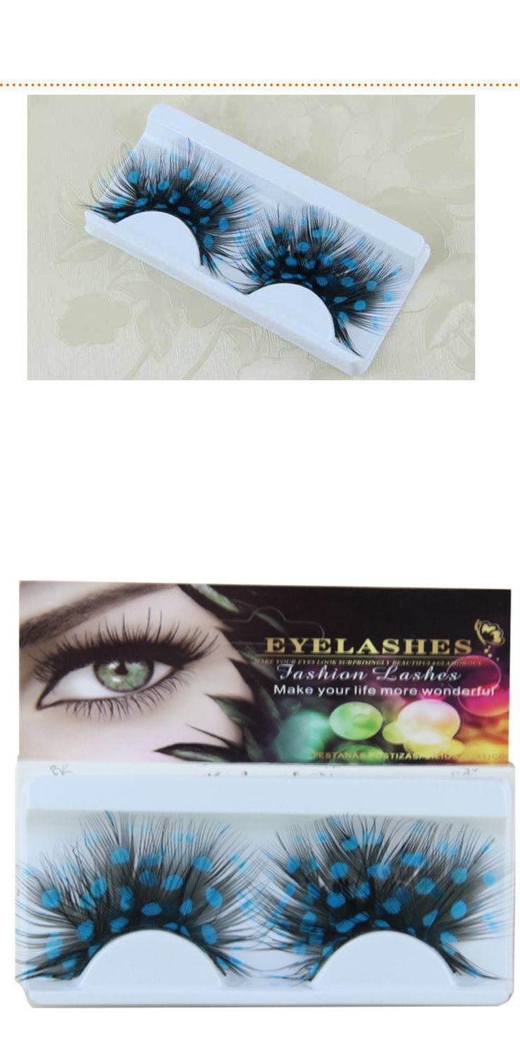 Hand Made colorful flare false eyelashes make up beautiful theatrical feather eyelash strip fake eye lashes cosmetic