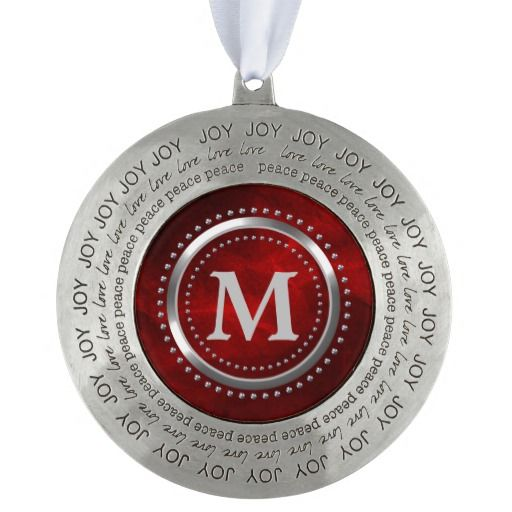 Bright Red Chrome Monogram Christmas Round Ornament by Westerngirl2