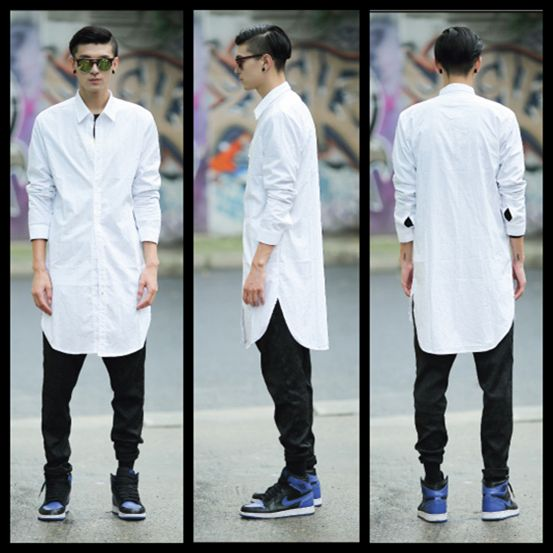 Aliexpress.com : Buy Cool mens longline design long sleeve plain