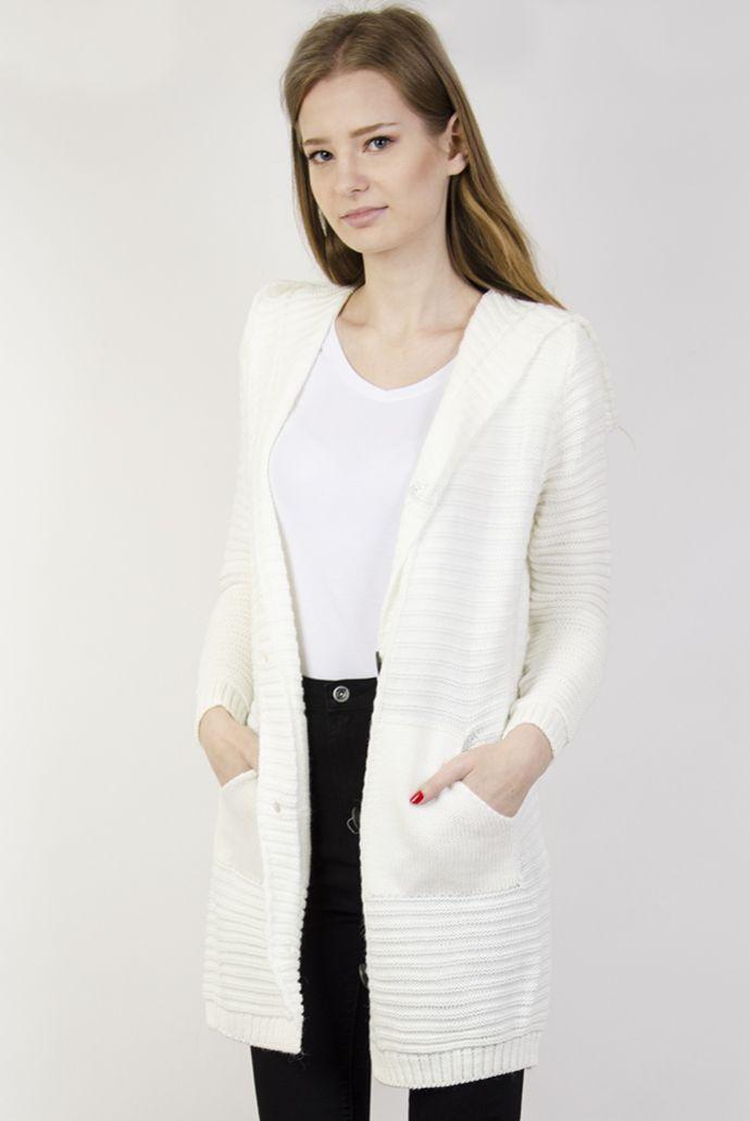 Sweterek biały zapinany na guziki, z kieszeniami