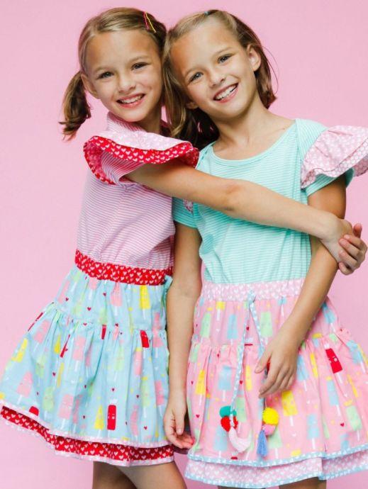 Zoe Mint Stripe & Strawberry Stripe Princess Ice Cream Dress