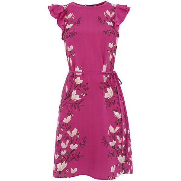 magnolia ruffle dress (€28) ❤ liked on Polyvore featuring dresses, summer cocktail dresses, purple evening dresses, midi evening dresses, cocktail dresses and purple midi dress