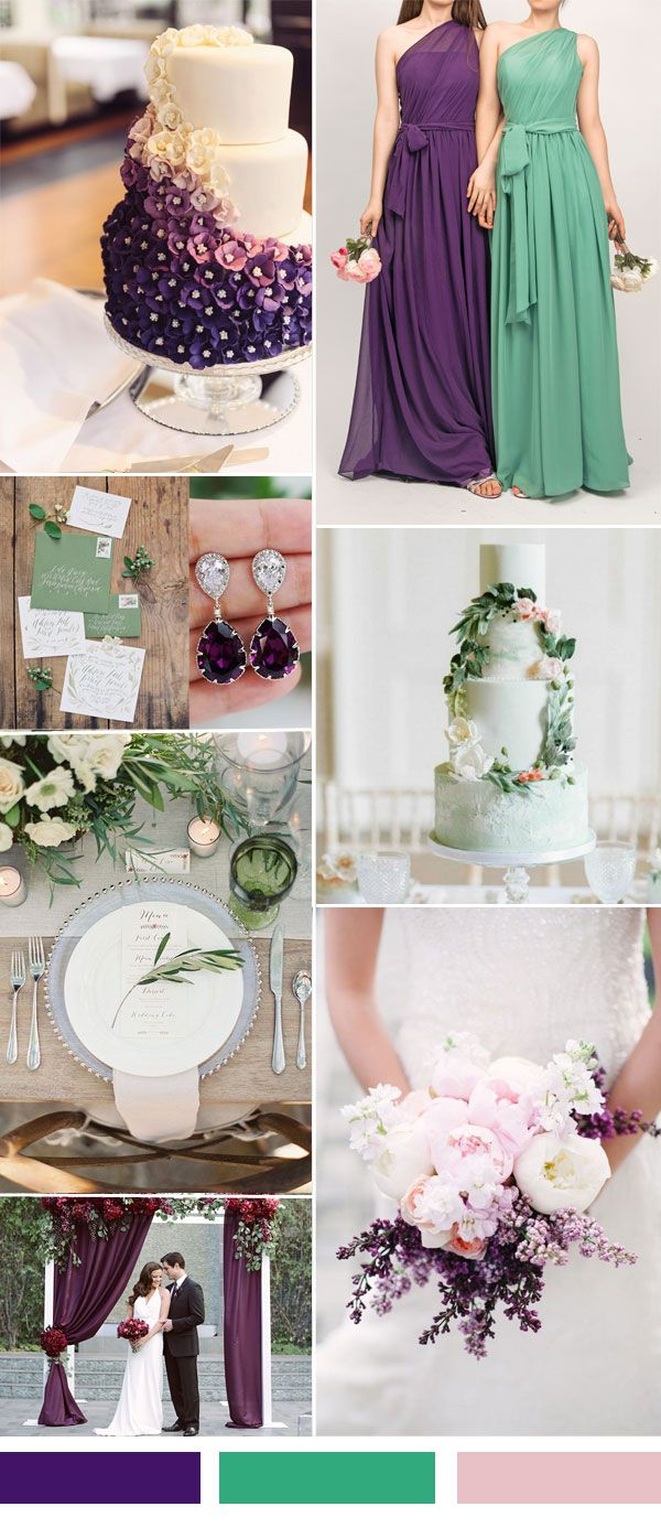 purple and green wedding color ideas and bridesmaid dresses trends 2015