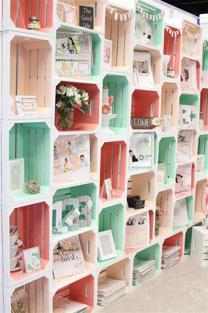 Love how the boxes arranged into a beautiful wall treatment Chickaniddy Crafts CHA 2014 Booth Crates
