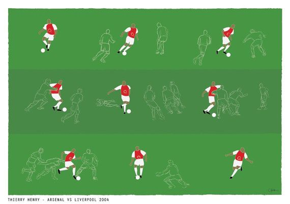 Thierry Henry vs Liverpool / Arsenal Print by CatandBall on Etsy