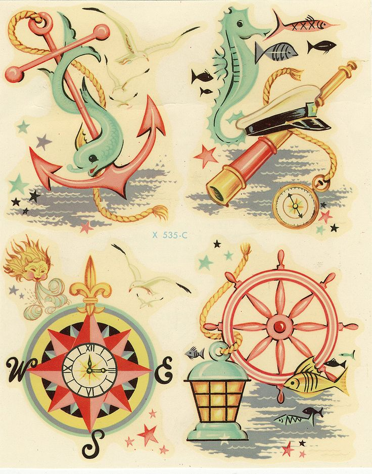 1950's nautical decals...love the colors...