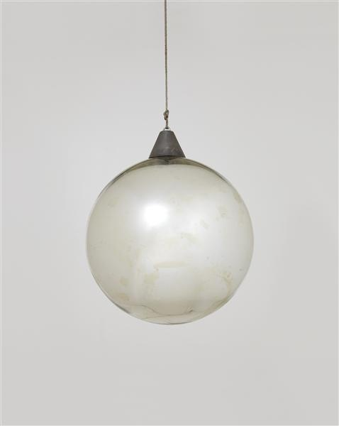 ":: Bauhaus, Mirror ball for the ""Metallisches Fest,"" Dessau, ca. 1929  Mirrored glass, chrome-plated metal.::"