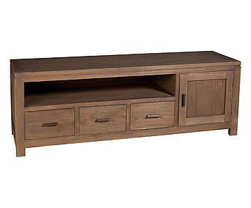 Mueble de tv de madera de mindi y contrachapado III
