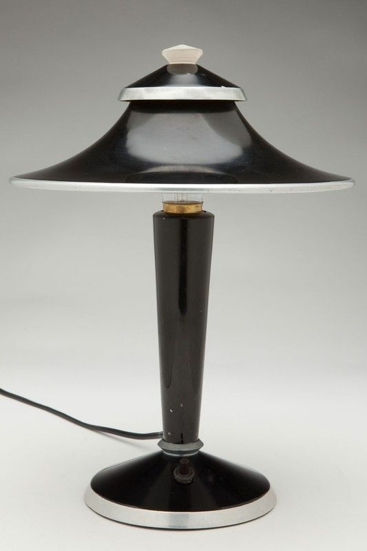 """Beautiful and Rare Art Deco """"Pagoda"""" Lamp by Walter Von Nessen for Herman Miller. Gloosy black enamel with chrome accents on shade + base and Von Nessen's signature glass finial. Lamp is in untouched original condition with a few minor paint scuffs consistent with age and careful use. Lamp has been re-wired and works."""