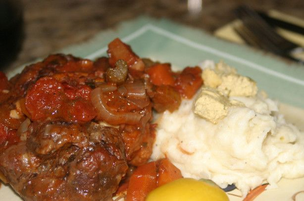 A variation on  the veal shank version of the traditional Italian recipe. The light heat with the orange is great, This works very well with egg noodles/wild rice/and garlic mashed potato.