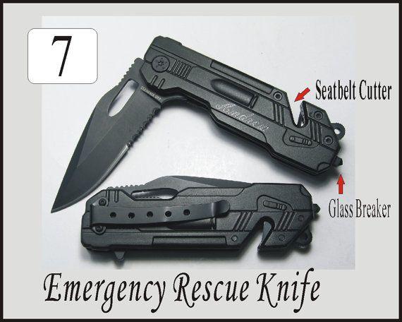 7 pcs Wedding Groomsmen Groomsman Gifts Personalized Engraved Black Rescue Pocket Hunting Knives