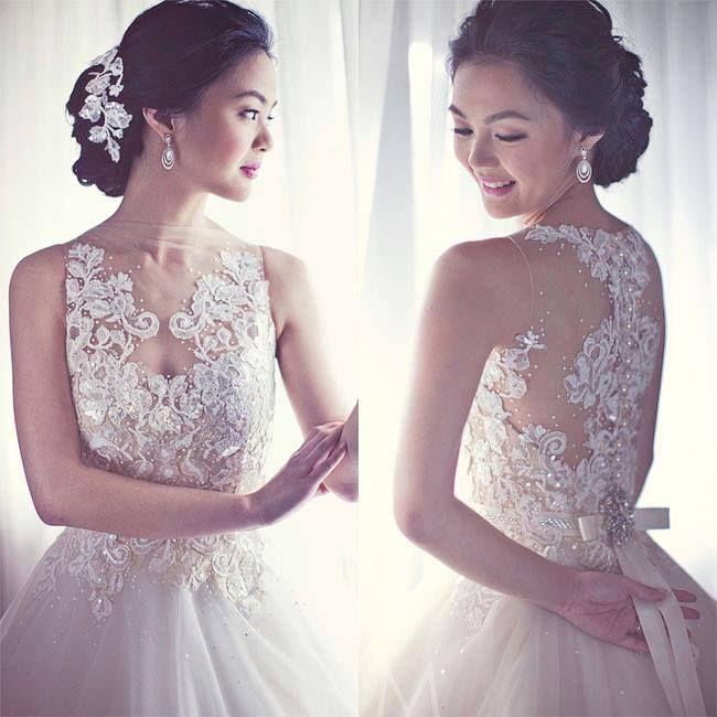 Veluz Reyes Embellished Lace Wedding Dress Illusion Back
