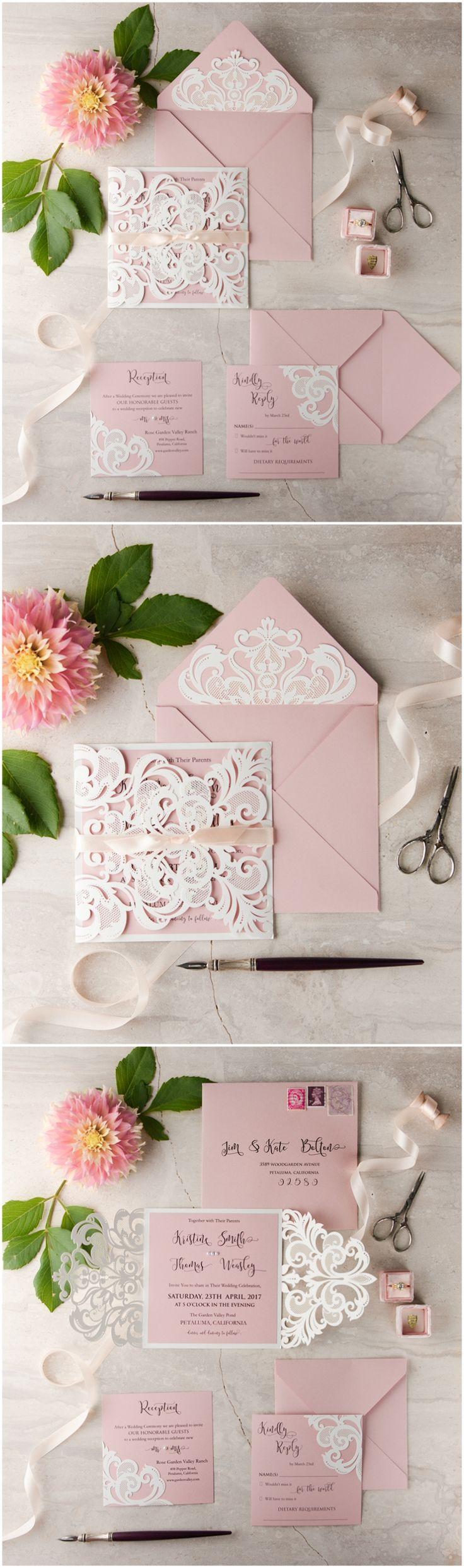 Laser cut romantic wedding invitations #lasercut #romantic #pink #white #weddinginvitations #weddingideas #4lovepolkadots