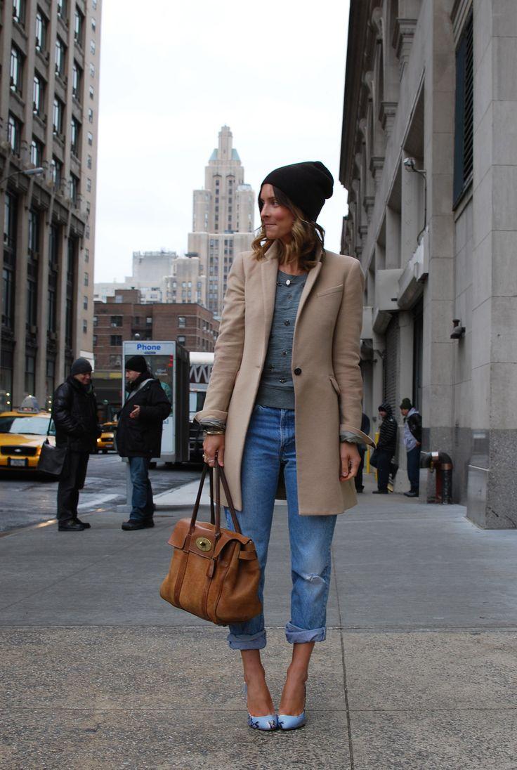 camel coat + blue jean + grey tee