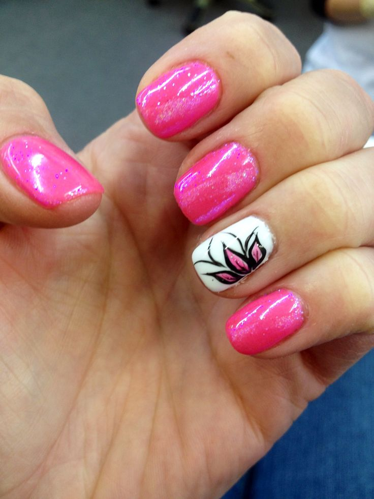 Cute hot pink with flower nail design - 25+ Best Cute Shellac Nails Ideas On Pinterest Shellac Nail