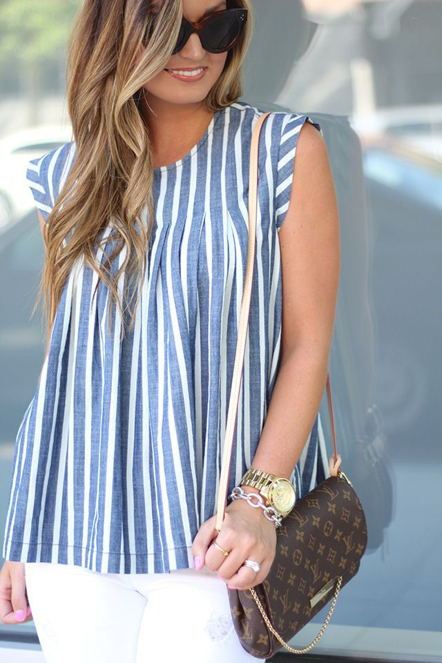 Striped Chambray + Distressed Denim on For All Things Lovely!  www.forallthingslovely.com ed82ce07ee1