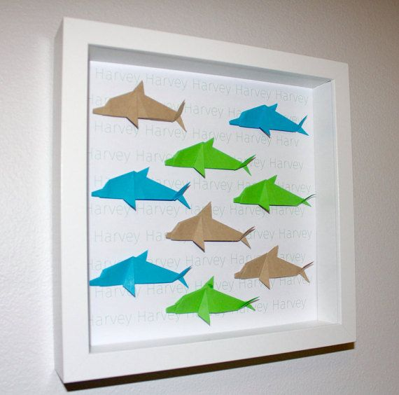 Personalised Dolphin Origami Frame by OzigamiDesigns on Etsy