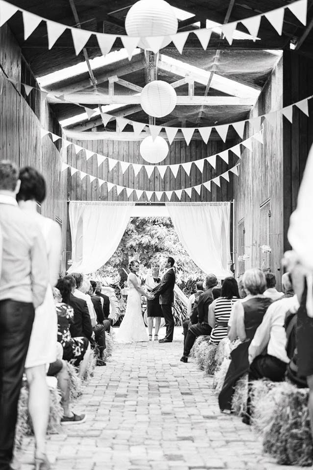 Gorgeous Rustic Barn Wedding! White Bunting $6.00 a metre.  Photo Credit: Tony McKay Photography, Hamilton New Zealand
