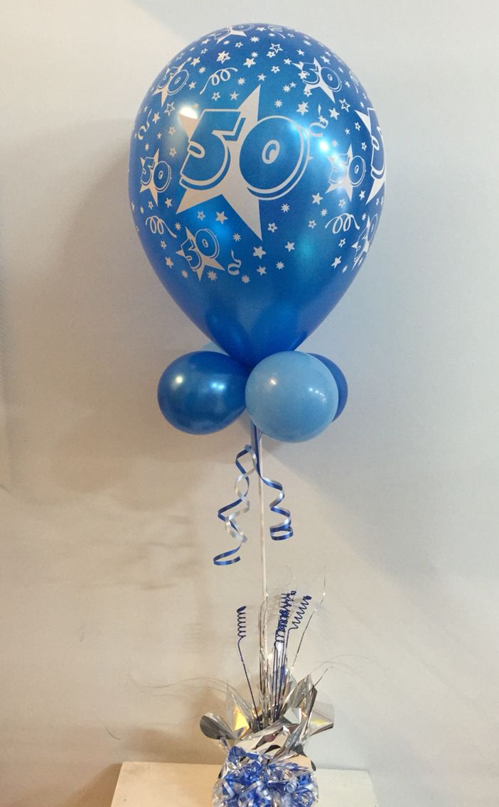 """11"""" 50th birthday topiary available in many colours to suit any theme  #partyshop #50thbirthday #balloon #decorations #tablecentrepiece http://www.celebrationsnsw.com"""