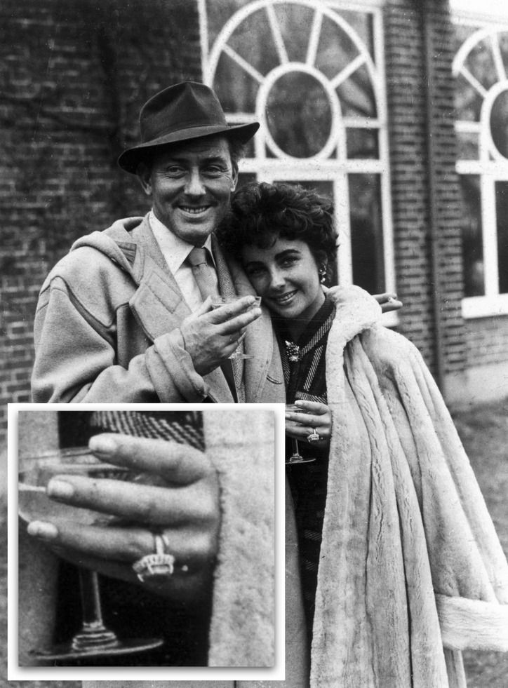 #ElizabethTaylor's Husband No. 2: Michael Wilding. Her second engagement ring featured a hefty cabochon sapphire; rumors swirled about whether Michael had purchased the ring, with some sources saying Liz bought it for herself.