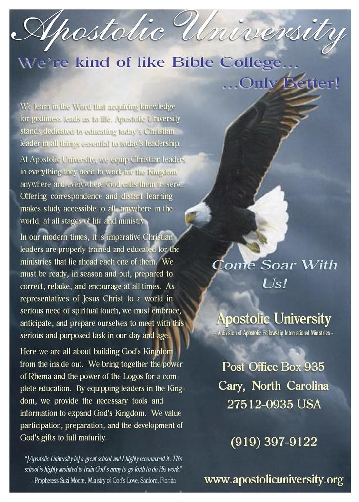 Apostolic University full-page advertisement.