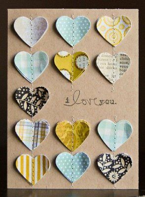 I Love You Card via Two Peas in a Bucket-I love the sewn fabric hearts!