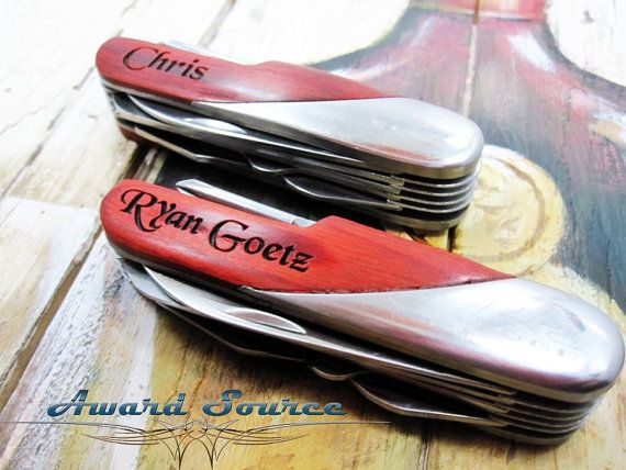 Mens Personalized Gift  Engraved Swiss Pocket Knife by KnifePro