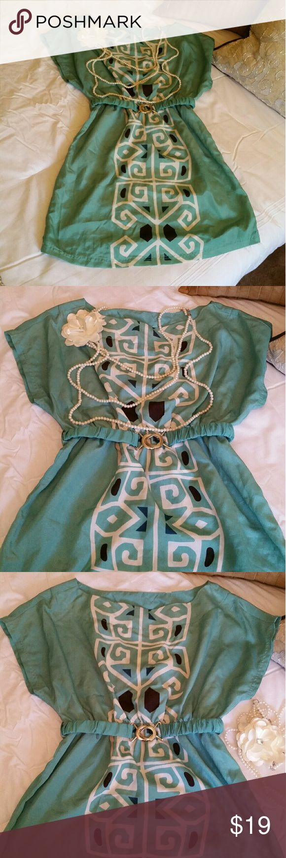 Aztec Print Green Belted Charlotte Russe Dress Charlotte Russe green Aztec print dress with matching belt. Light & airy for summer. Size small. Charlotte Russe Dresses Mini