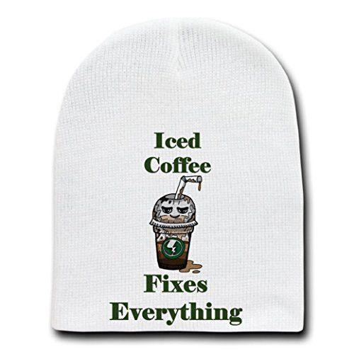 'Iced Coffee Fixes Everything' Food Humor Cartoon - White Beanie Skull Cap Hat
