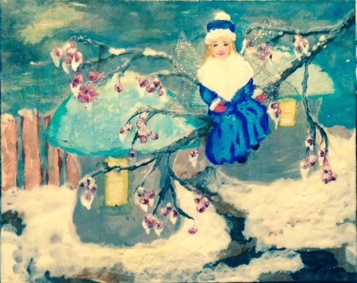 """This small artwork was created using encaustic techniques and ink.  I made this in Feb. 2017.  It is my 2nd piece using these mediums.  It's called """"Winter Wendy"""".  Look carefully and you can see her wings."""