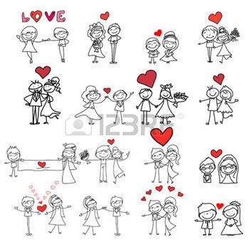 wedding: hand drawing cartoon happy couple wedding Illustration