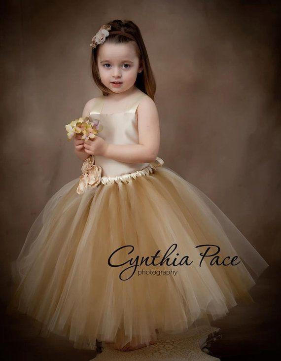 Flower Girl Tutu Dress Floor Length Sewn Tutu by BellaTutusDesigns