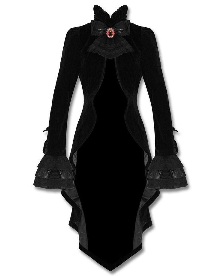 Punk Rave Gothic Jacket Tailcoat Cloak Black Velvet Vampire Knight Lace Bustle #Punkrave #Capes #Casual