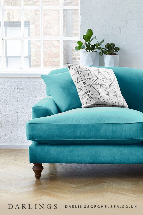 Take the leap and invest in a beautiful velvet teal sofa