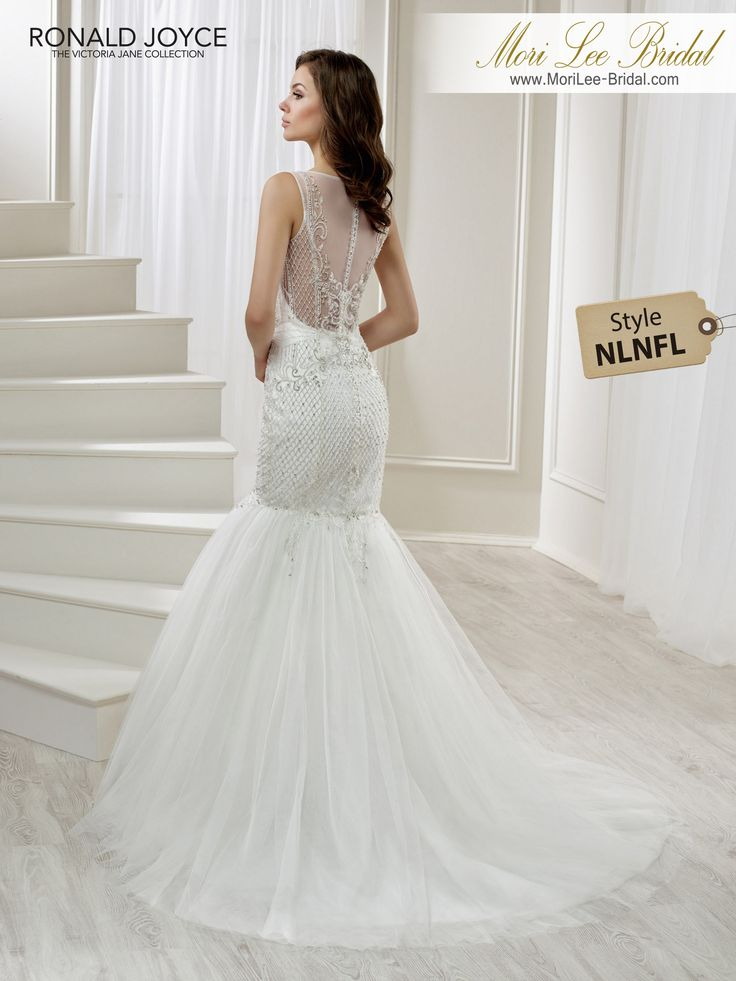 Style NLNFL  LILLIANA TULLE AND CHIFFON FISHTAIL DRESS WITH INTRICATE BEADED DETAIL AND AN ILLUSION NECKLINE/BACK. PICTURED IN IVORY.COLOURSWHITE, IVORY
