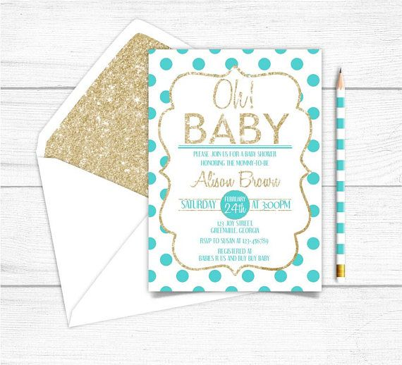 Printable Gold Teal Boys Baby Shower InvitationGold Sparkle