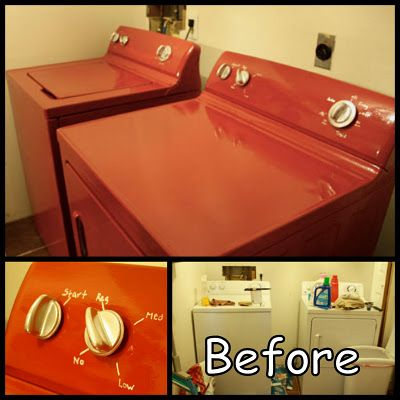 Rust-Oleum's Enamel Epoxy Paint...I am not sure I am willing to do this myself - but wish someone else would do it for me :) Good compromise for my desire to have colored washer/dryer - which just seems silly in itself!