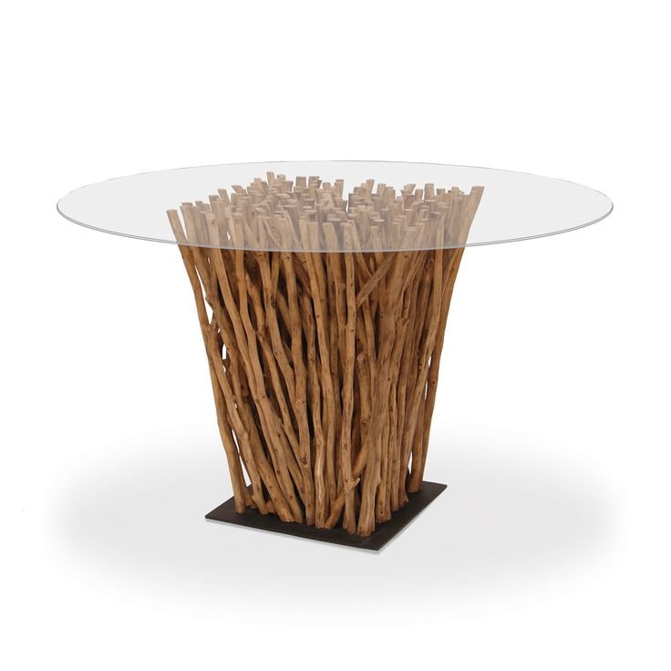 Unique And Assorted Driftwood Pieces Are Gathered To Create This  One Of A Kind Dining Table Which Is Set On An Iron Base. Use Two Bases To  Form A Large ...