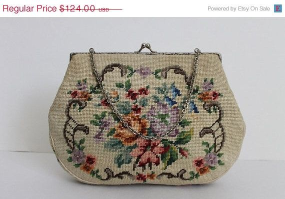 ON SALE 1940s  Vintage Rose Print Tapestry Chain by camelotvintage, $86.80